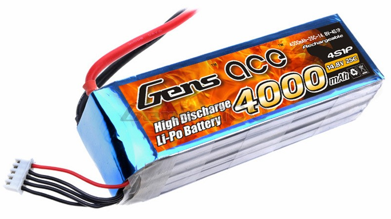 Gens ace 4000mAh 14.8V 25C 4S1P Lipo Battery Pack