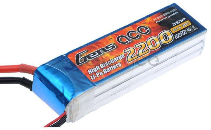 Gens ace 2200mAh 11.1V 25C 3S1P Lipo Battery (XT60)